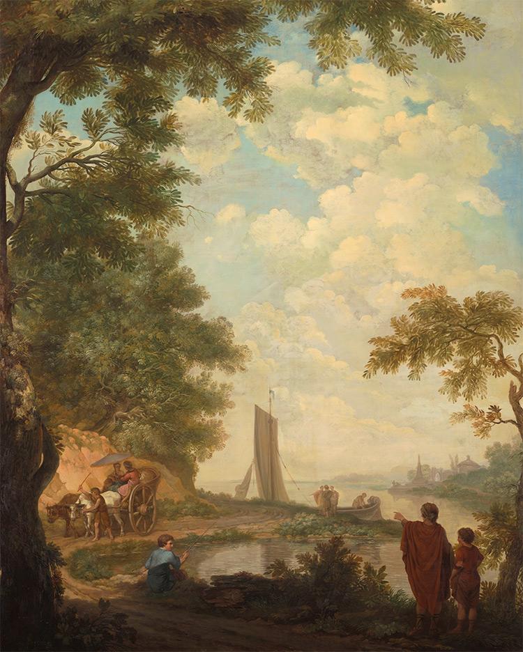 Arcadisch landschap met figuren bij een rivieroever, Jurriaan Andriessen, 1771 (coll. Rijksmuseum)